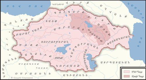 На карте затемнены ныне существующие армянские государства на фоне потерянной Большой Армении - erevanlive.wordpress.com